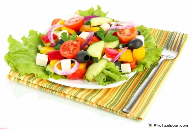 Fresh salad with a fork