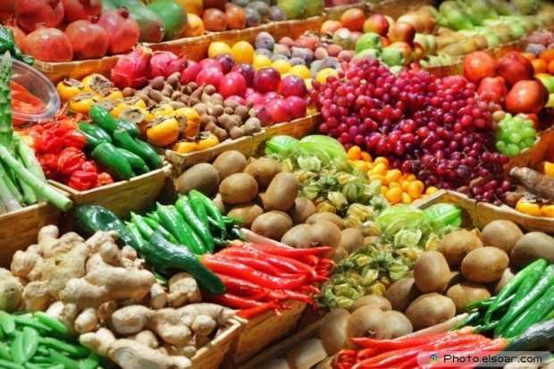 Fruits With Vegetables At A Farmers Market