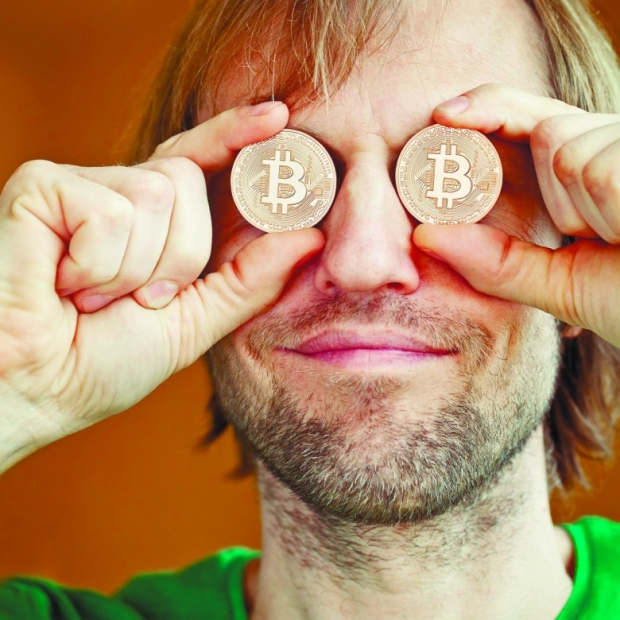 Funny man with Bitcoins