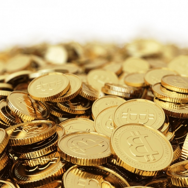 Golden Bitcoin cryptography digital currency coins