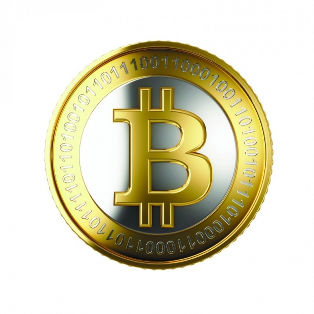 Golden Bitcoin. 3D image