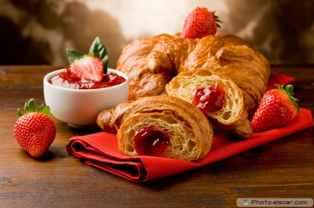 Golden Croissants Filled With Strawberry