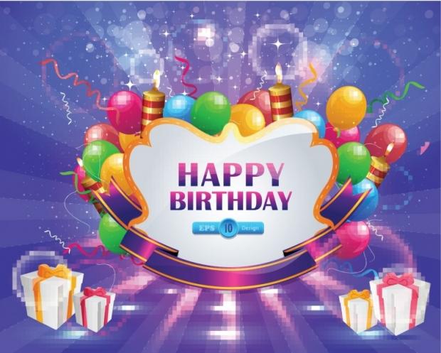 Happy Birthday Card Design, Shiny congratulations