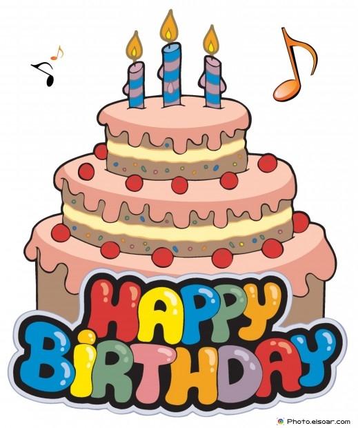 Happy Birthday Card Design With Big Cake
