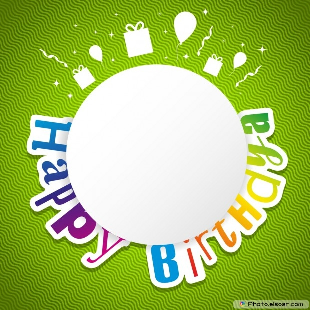 Happy Birthday Card On Green Background As Carnival