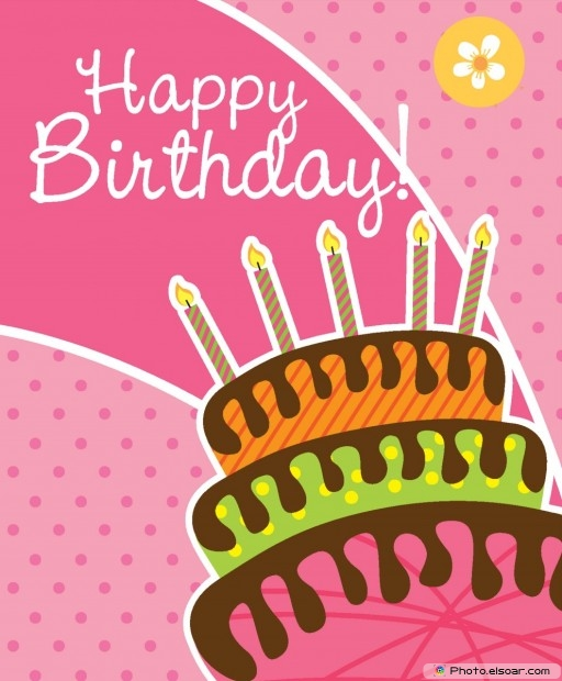 Happy Birthday Card With Cake Over Pink