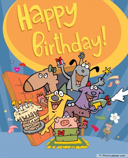 Happy Birthday Card With Funny Characters