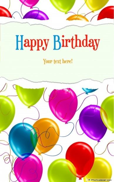 Happy Birthday Card With Shiny Balloons