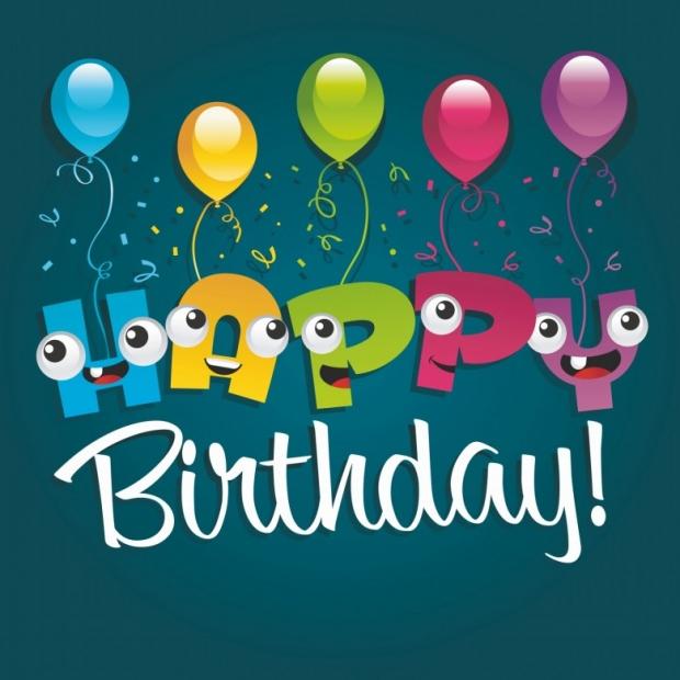 Happy Birthday Greeting Card Design, Funny cartoon Characters