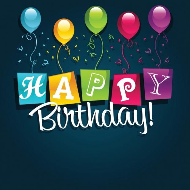 Happy Birthday Greeting Card on blue background