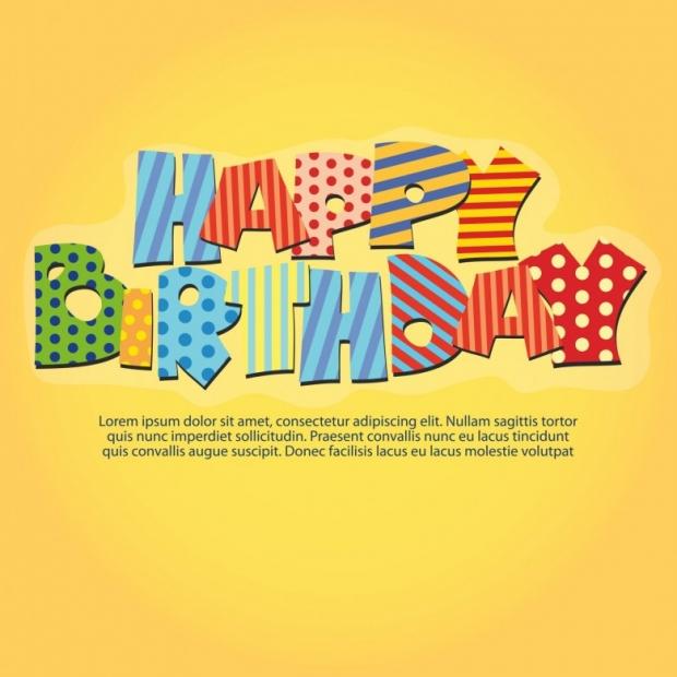 Happy Birthday beautiful Card On yellow background
