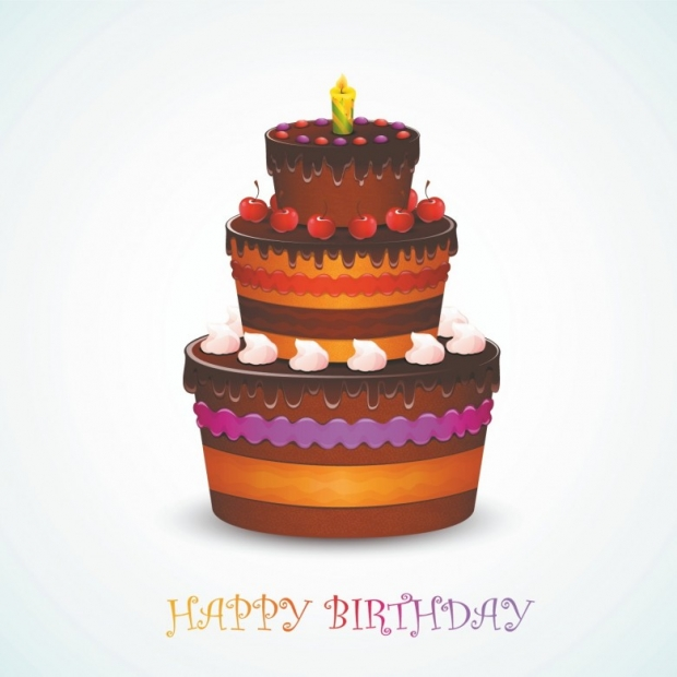 Happy Birthday cake on abstract background