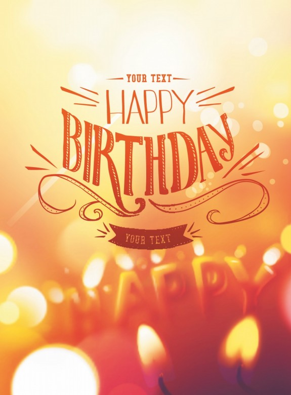 Happy Birthday card design with candle lights