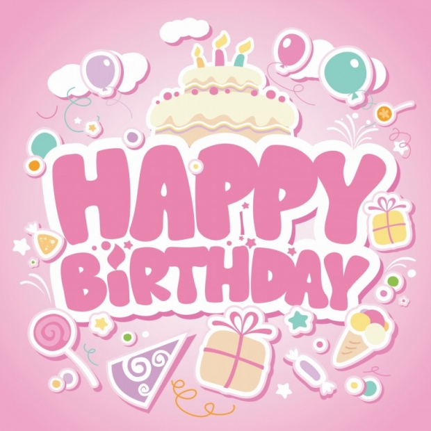 Happy Birthday pink card for girls