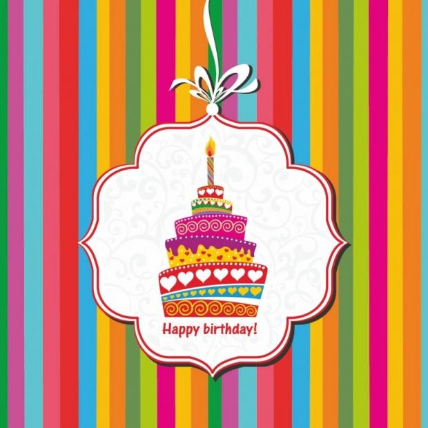 Happy birthday card. Birthday cake