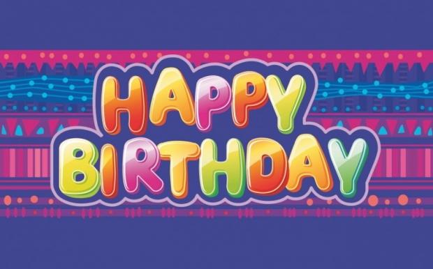Happy birthday colorful texts