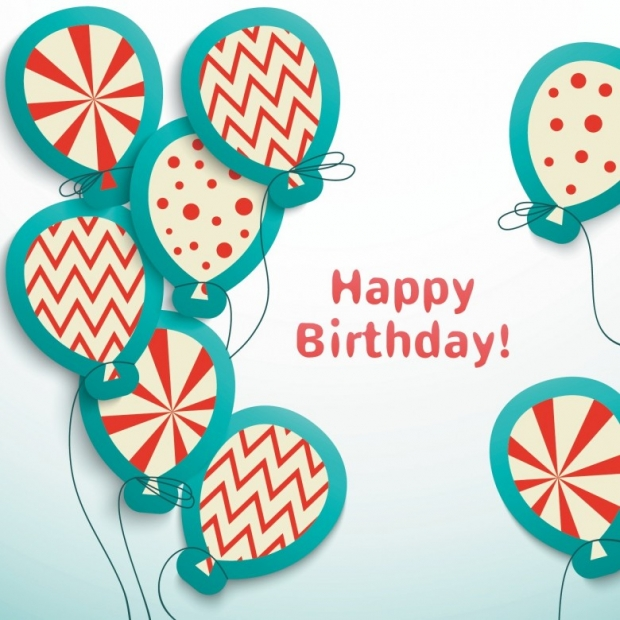 Happy birthday postcard with balloons. Easy to use