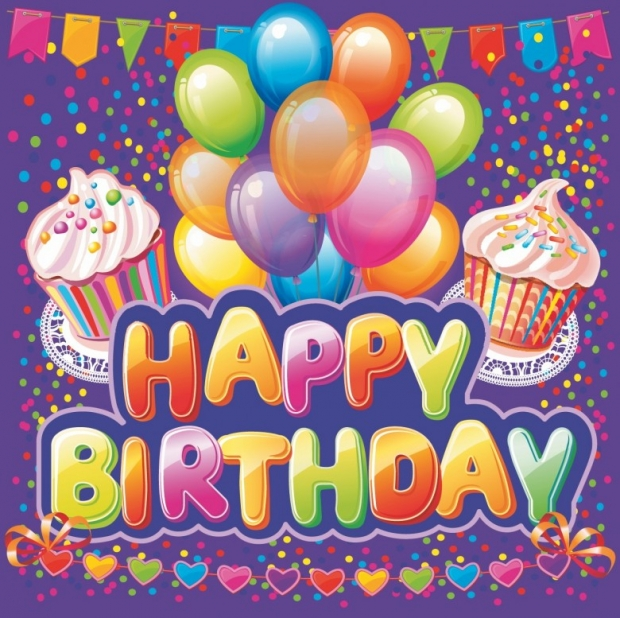 Happy birthday text. Colorful party
