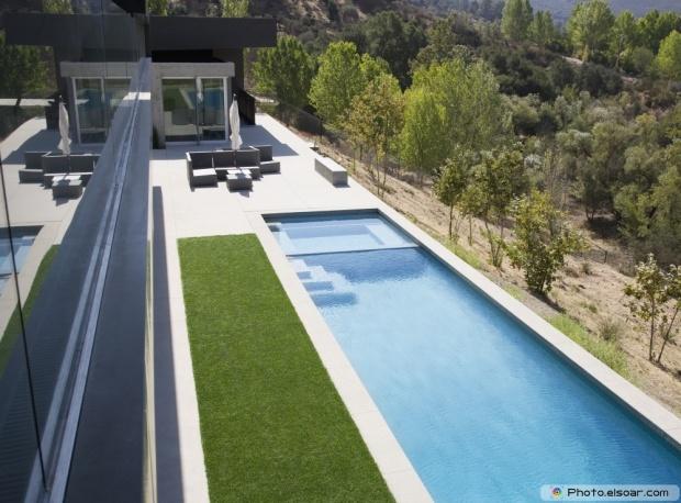 High Angle View Of Modern Swimming Pool
