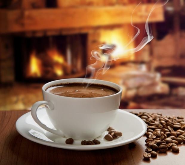 Hot coffee near fireplace
