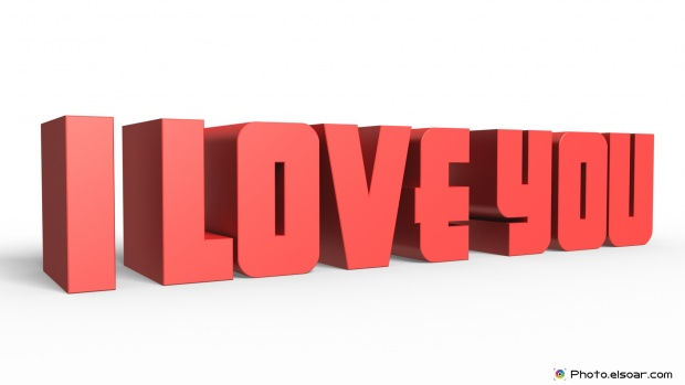 I Love You Image with Red 3D text