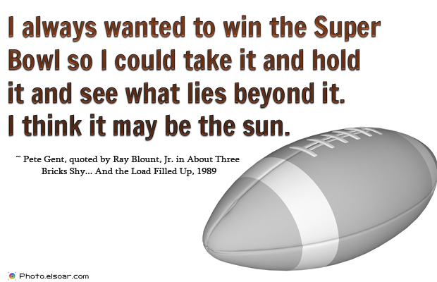 Super Bowl Quotes , I always wanted to win the Super Bowl so I could take it and