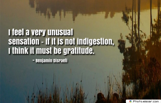 Quotations , Sayings , I feel a very unusual sensation</strong> - <em>if it is not indigestion