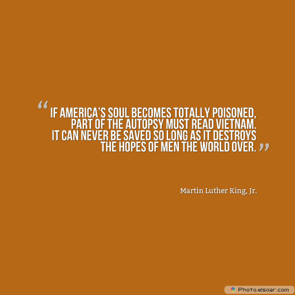 Martin Luther King Jr. Day , If America's soul becomes totally poisoned, part of the autopsy