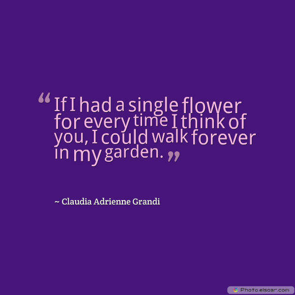 Short Quotes , If I had a single flower for every time I think of you, I could walk