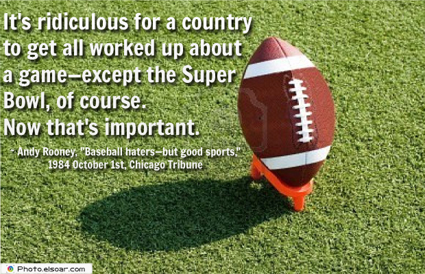 Super Bowl Quotes , It's ridiculous for a country to get all worked up about a game