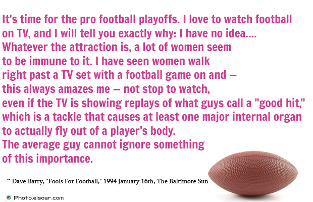 Super Bowl Quotes , It's time for the pro football playoffs. I love to watch football
