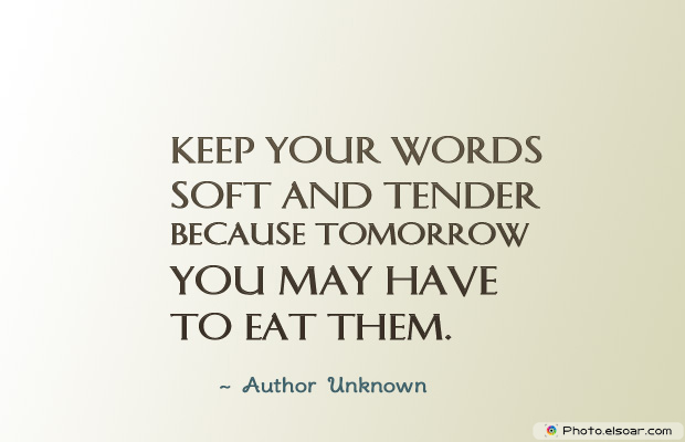 Short Strong Quotes , Keep your words soft and tender because