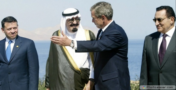 King Abdullah, Hosni Mubarak, George W. Bush, Abdullah II of Jordan