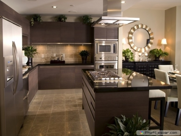 Kitchen Interior Design With Tiled Floor