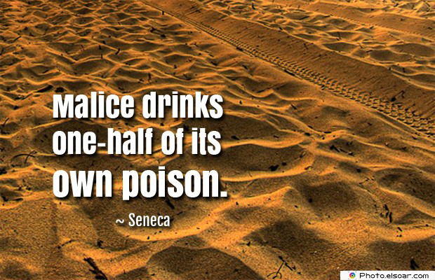 Quotes About Anger , Malice drinks one-half of its own poison