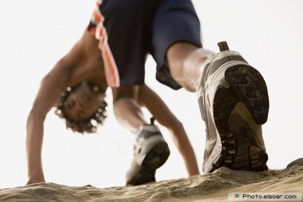 Man running on rocks