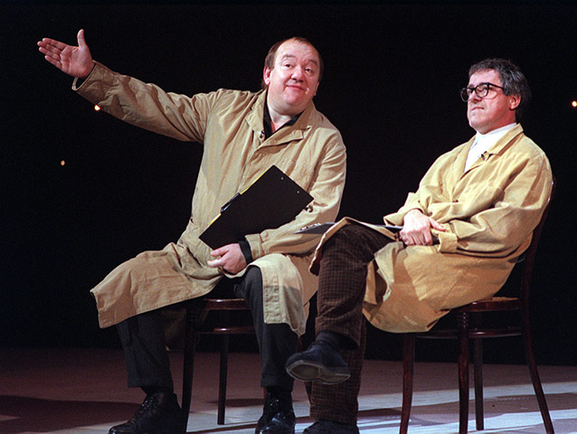 Comedians Mel Smith and Griff Rhys Jones on stage