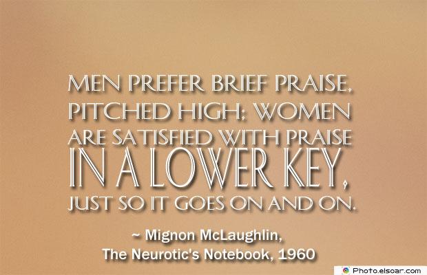 Men prefer brief praise