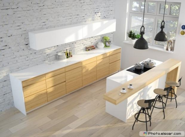 Moderen küche mit ziegelwand