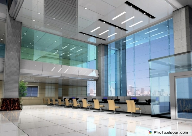 Modern design interior of business hall