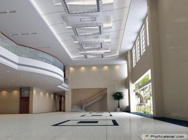 Modern design interior of hall, corridor. 3D render