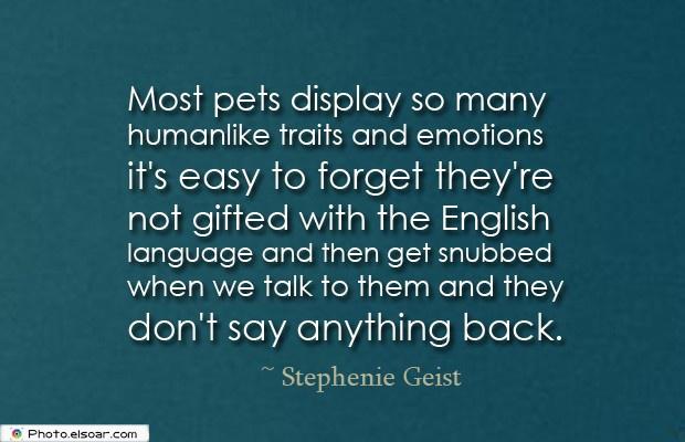 Most pets display so many humanlike