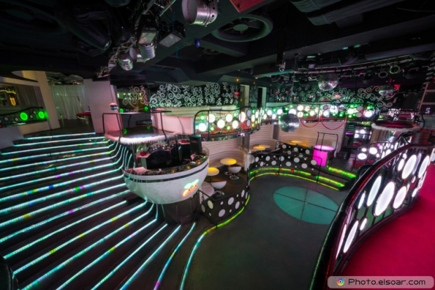 Nightclub Pacha with glowing stairs