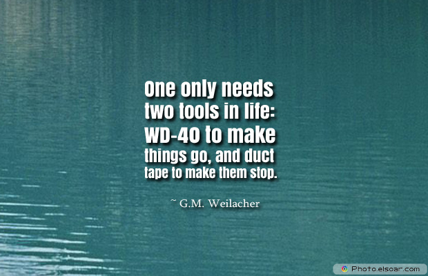 Short Strong Quotes , One only needs two tools in life WD-40 to make things go