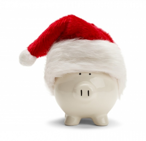 Piggy Bank With Santa Hat Isolated