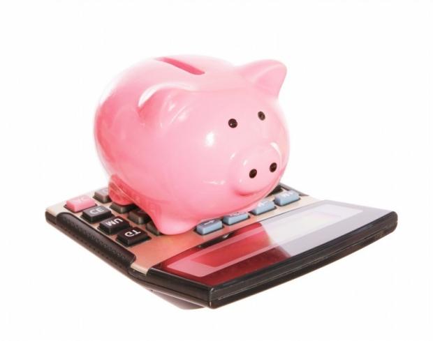Piggy bank with calculator . style money box