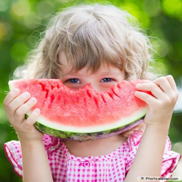 Pretty Girl Eating Watermelon