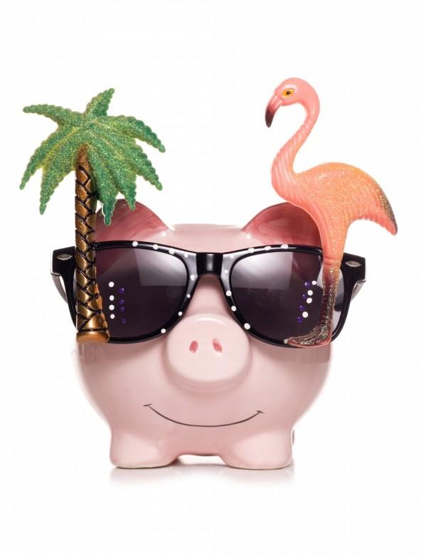 Saving for retirement piggy bank studio cut out