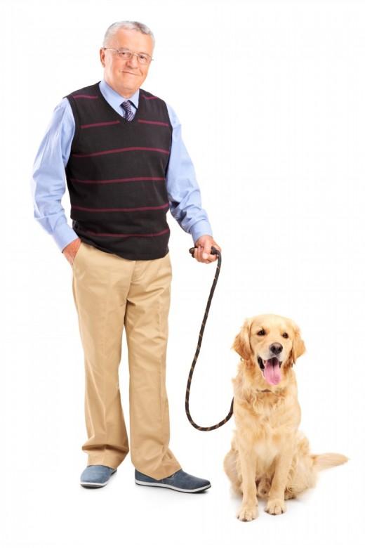 Senior man with his pet