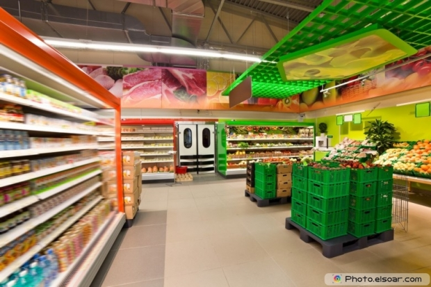Shelves With Products In The Supermarket